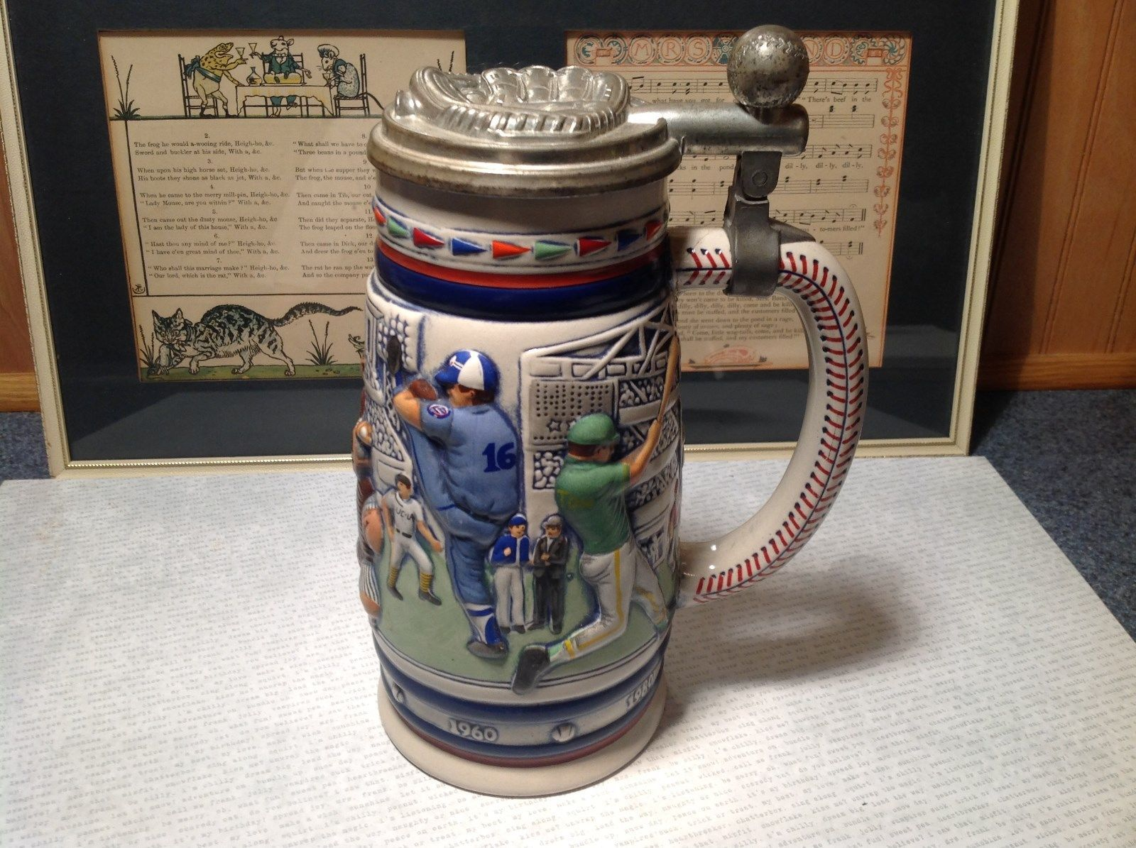Vintage Ceramic Handmade Beer Stein with Pewter Lid Baseball Theme