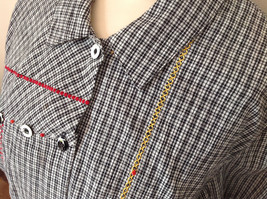 Short Sleeve Collared Button Down Black and White Check Pattern Shirt Size 16W image 8