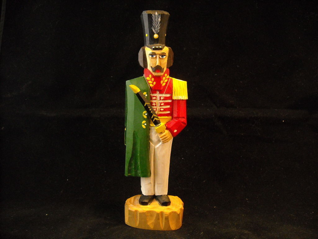 Vintage Collectible Russian Hand Carved Wooden Toy Soldier