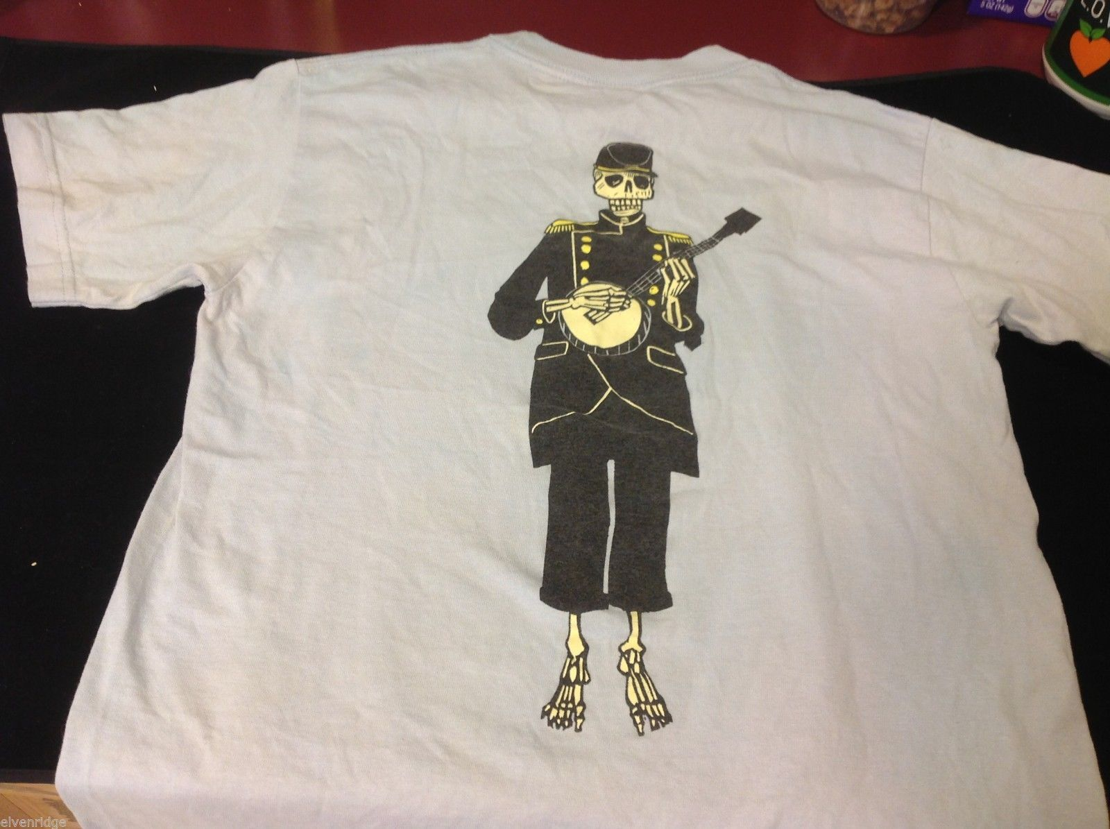 Vintage Chocolate blue t shirt with skeleton playing banjo size small