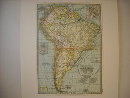 Vintage Color Map Reprint South America The Century Atlas