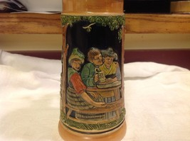 Vintage German lidded ceramic stein from estate mid 1900s #1