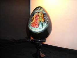 Vintage Collectible Russian Wood Egg Black Lacquer