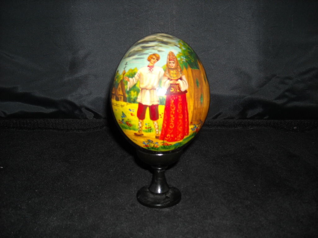 Vintage Collectible Russian Wooden Egg Black Lacquer