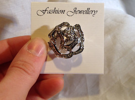 Silver Tone Attractive White Crystal Flowers Pin Clasp Closure image 5