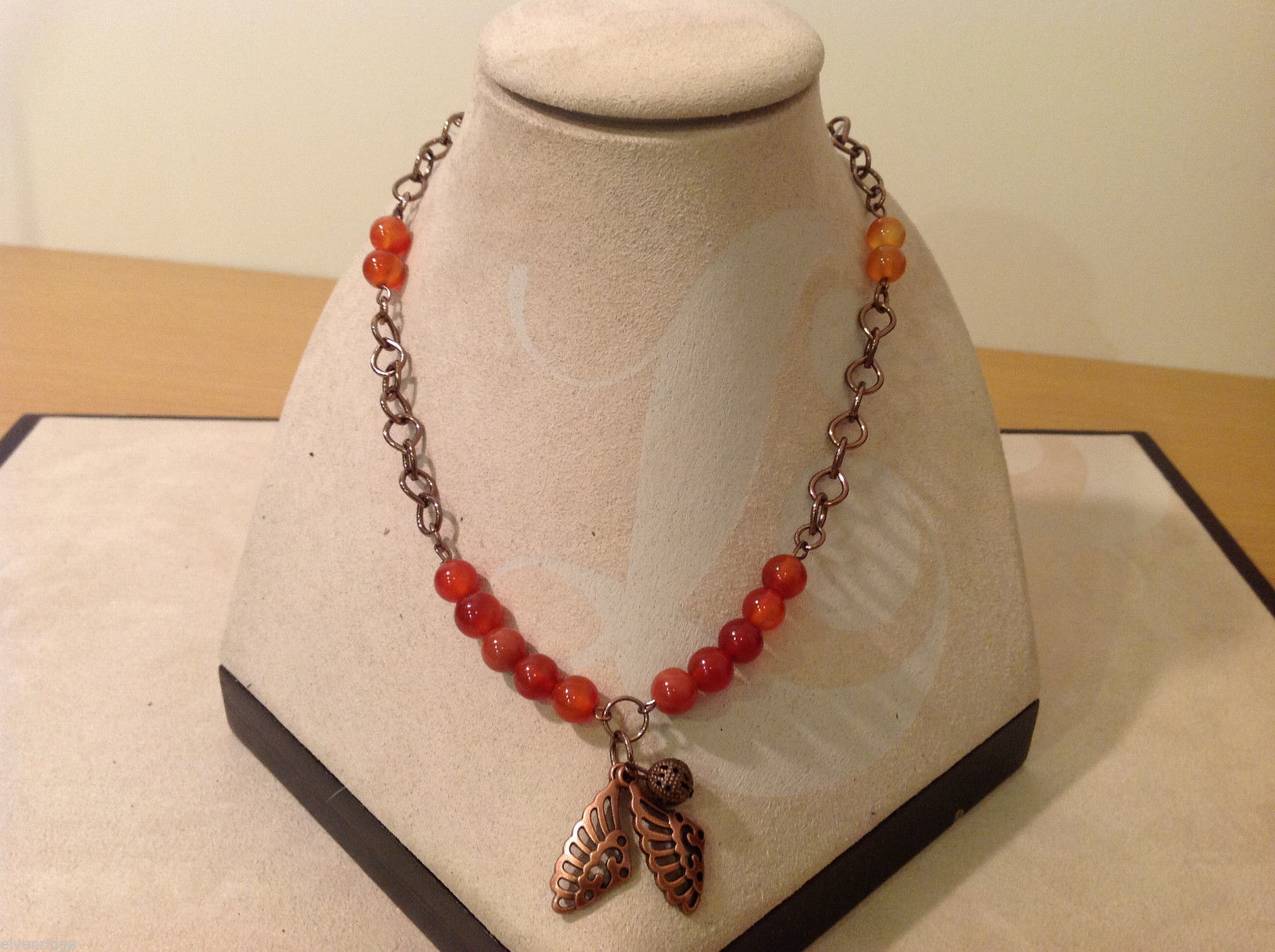 Vintage Copper Necklace Angel wings charms Red Yellow Beads Adjustable length