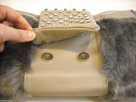 Shoulder Bag with Silvery Gray Faux Fur and Gray Faux Leather image 2