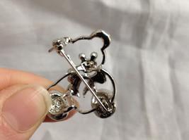 Silver Tone Bear with White Crystals Brooch/Pin Black Stone Eyes Pin Closure image 5