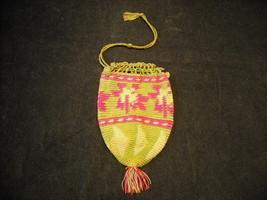 Vintage Crocheted Draw String Bag very fine stitch geometric pattern w tassel