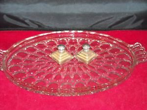Vintage Depression Clear Glass platter ovals pattern