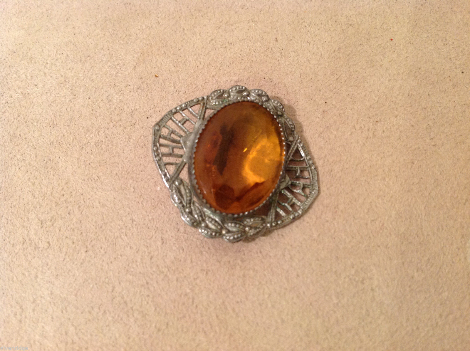 "Vintage Costume Silver Brooch Pin with amber orange color, 1"" by 1"""