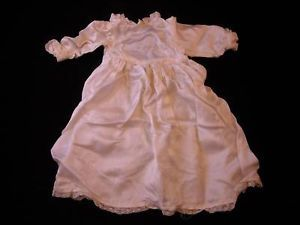Vintage Doll Clothing - White Long Sleeved Dress