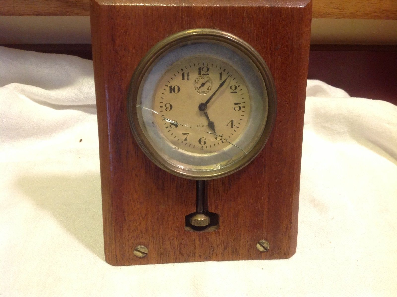 Vintage Elgin  wind up watch in wood mantel case estate repurpose steampunk