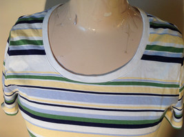 Short Sleeve White Stag 100 Percent Cotton Multicolored Striped Shirt Size M image 2