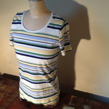 Short Sleeve White Stag 100 Percent Cotton Multicolored Striped Shirt Size M image 5
