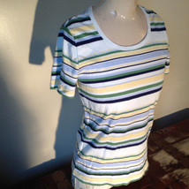 Short Sleeve White Stag 100 Percent Cotton Multicolored Striped Shirt Size M image 3