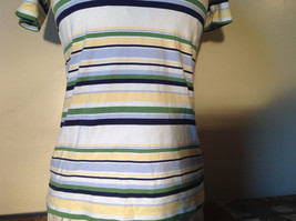 Short Sleeve White Stag 100 Percent Cotton Multicolored Striped Shirt Size M image 4