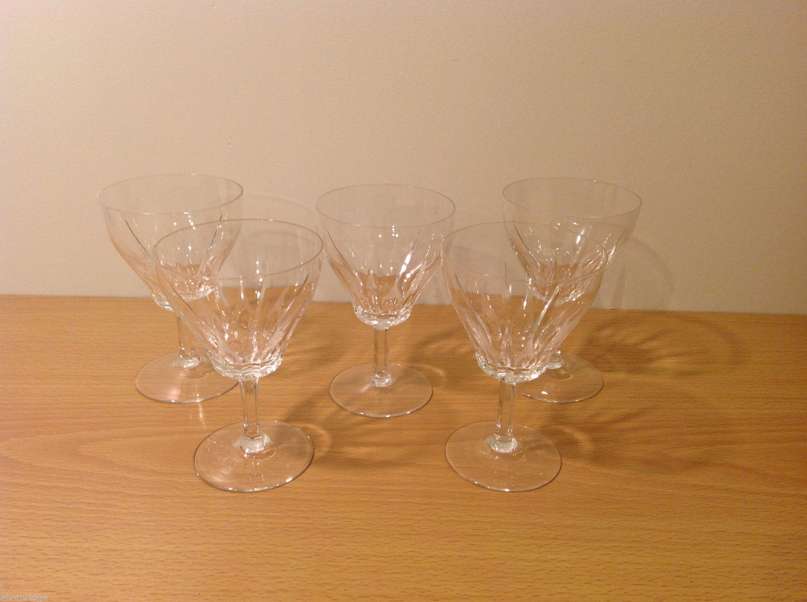 Vintage Five Piece Set Wheel Engraving Clear Glass Mini Wine Glasses