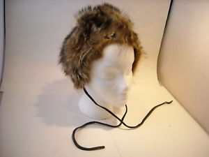 Vintage Fur Hat w Leather Ties Mr. R