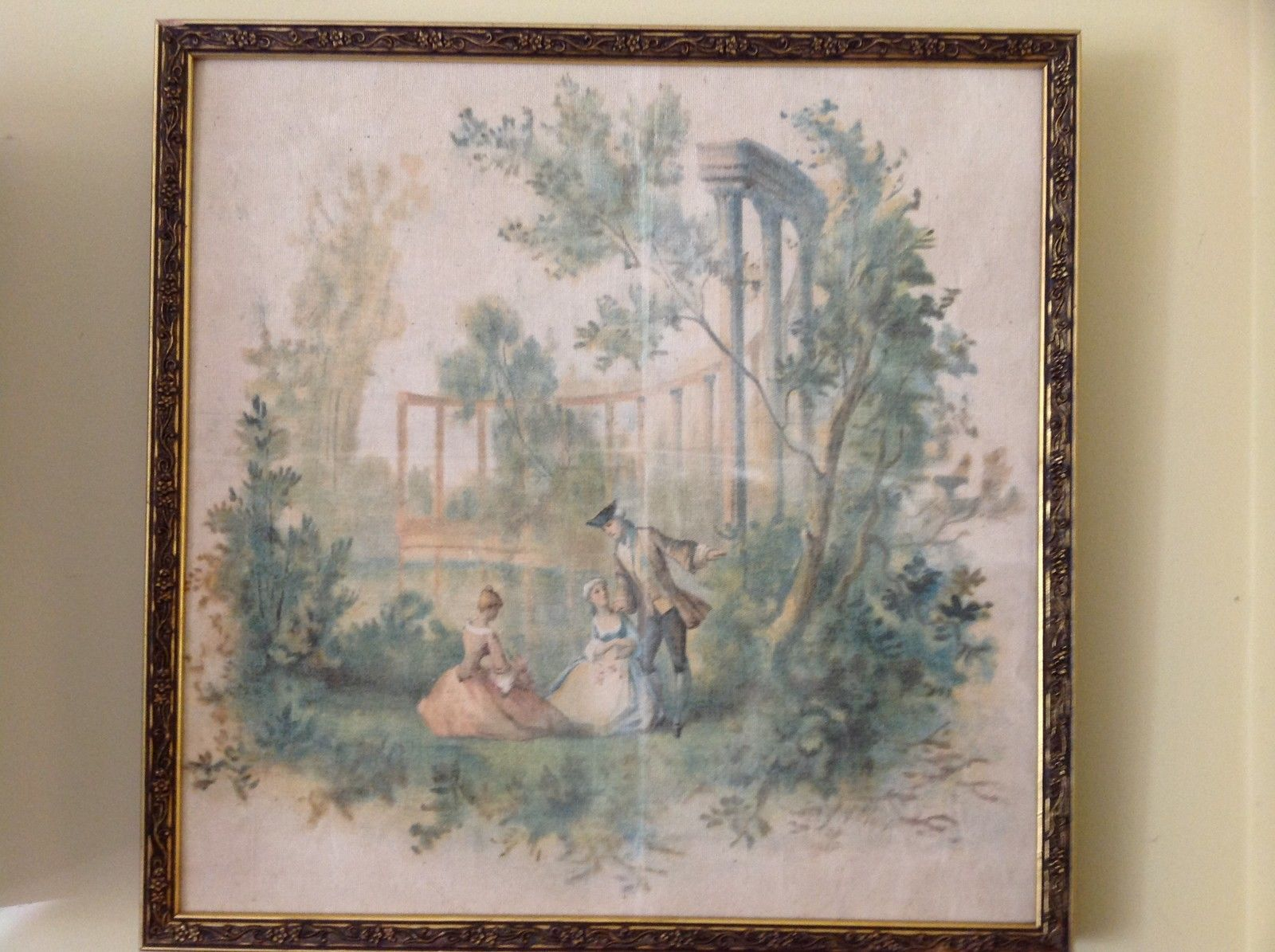 Vintage Framed Painted Picture Man and Two Women Trees Painted on Cloth Canvas