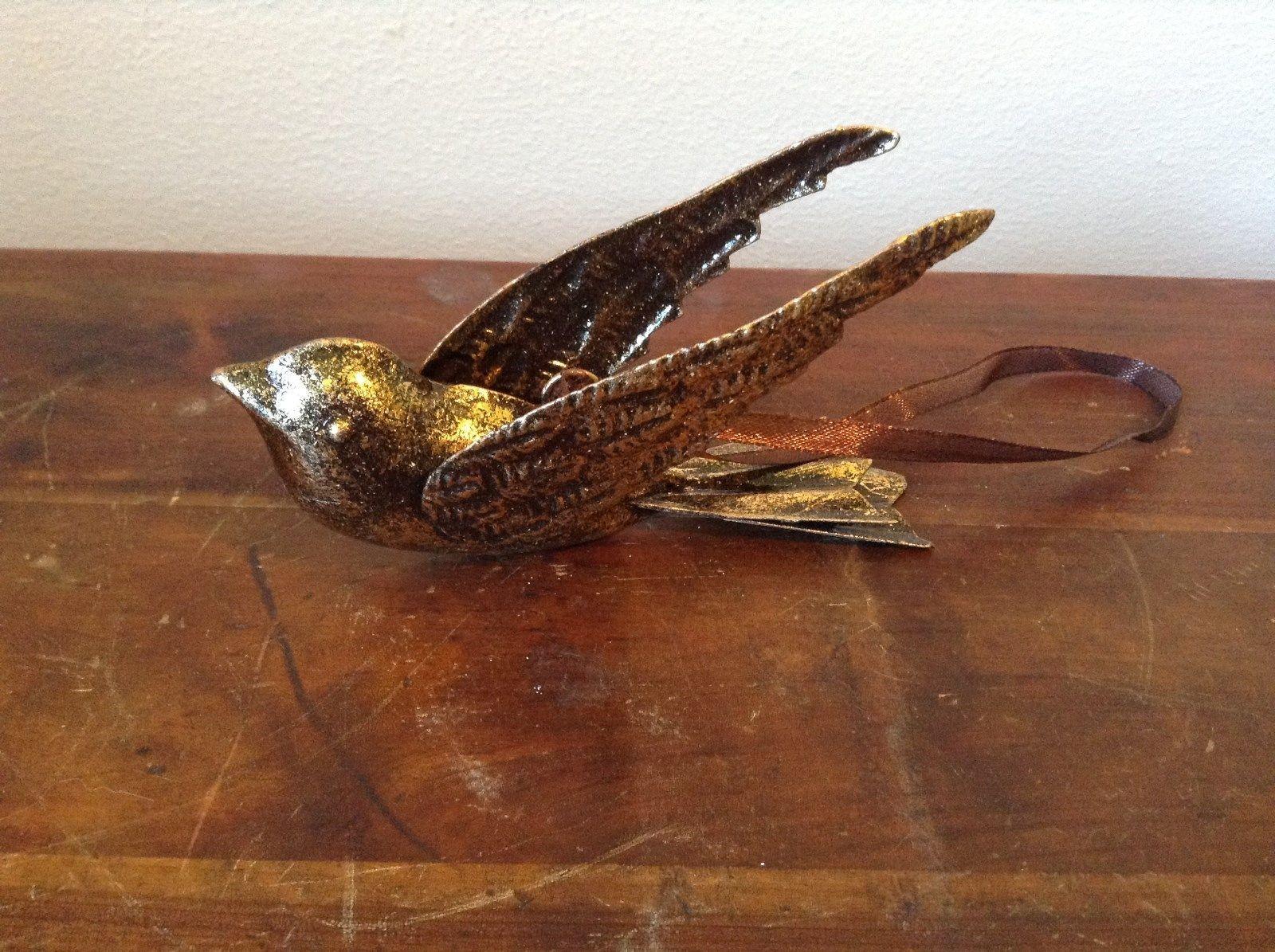 Vintage Flying Bird with Wings Back Gold Tone Ornament Vagabond Vintage