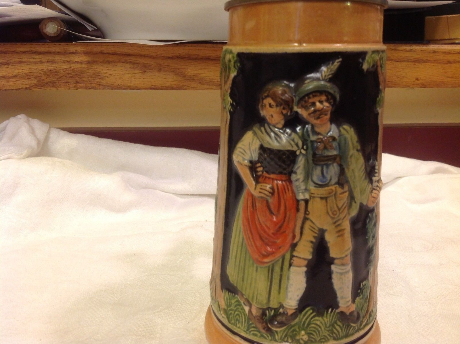Vintage German lidded ceramic stein from estate mid 1900s #2