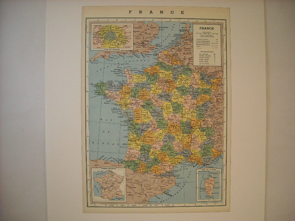 Vintage France Map Reprint Railroads Canals