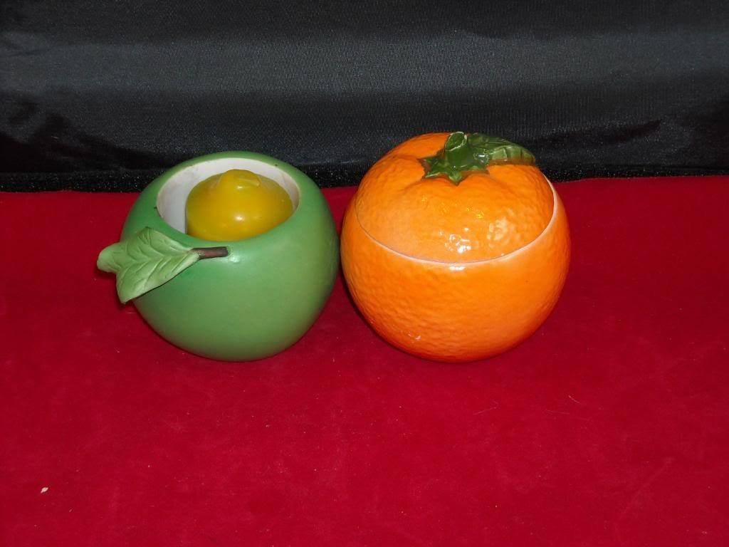 Vintage Fruit Votive Holders green apple orange w lid
