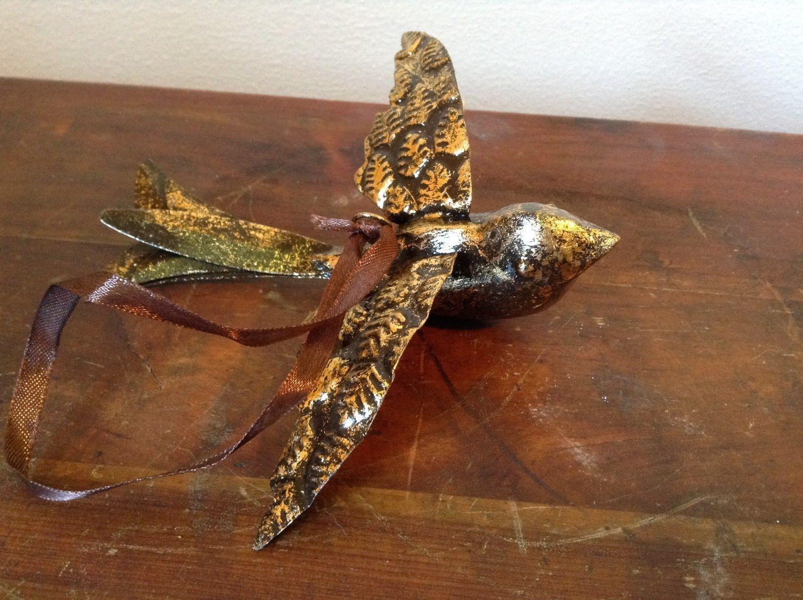 Vintage Flying Bird with Leaf Design on Wings Gold Tone Ornament Vagabond