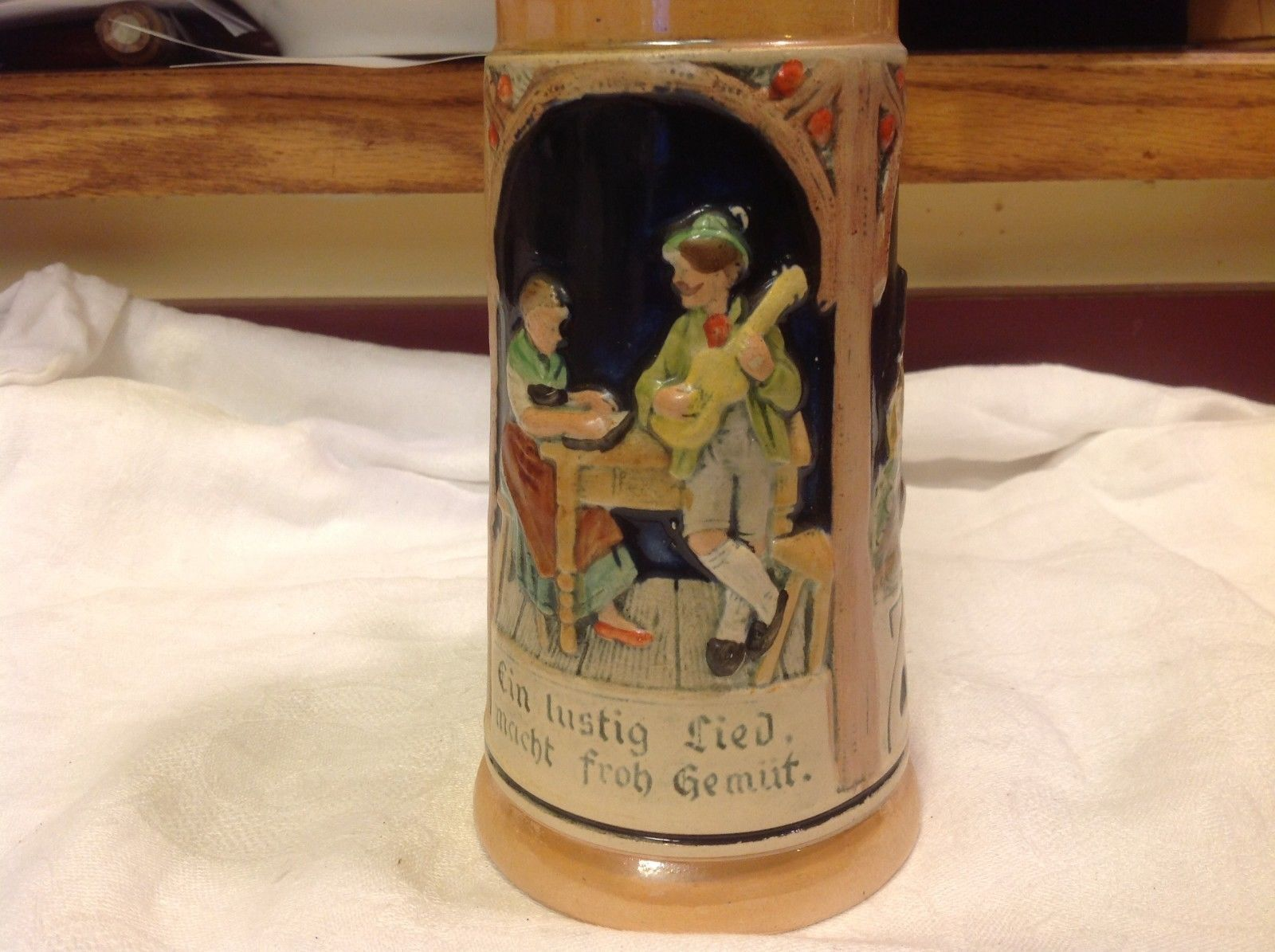 Vintage German lidded ceramic stein from estate mid 1900s #4