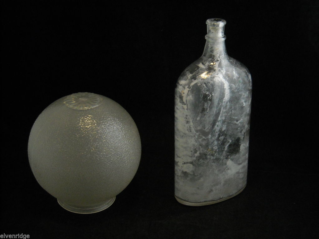 Vintage Glass Bottle and Globe Glass Light Cover