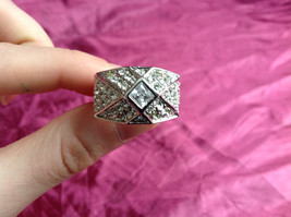 Silver Rhodium  CZ Stone Statement Ring Pyramid Design with Larger Stone Size 8 image 6