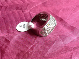Silver Rhodium  CZ Stone Statement Ring Pyramid Design with Larger Stone Size 8 image 2