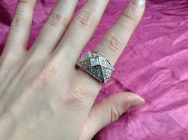 Silver Rhodium  CZ Stone Statement Ring Pyramid Design with Larger Stone Size 8 image 4