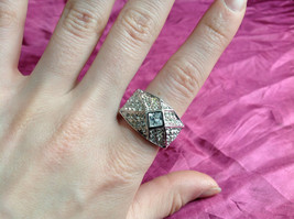 Silver Rhodium  CZ Stone Statement Ring Pyramid Design with Larger Stone Size 8 image 5