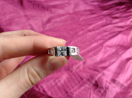 Silver Rhodium and  CZ Stone  Ring  Square Cut Stones with Large Stone Size 8 image 9