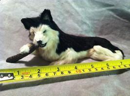 Siberian Husky chewing on stick - Dog Figurine - recycled rabbit fur image 8