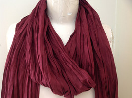 Silk Cotton Scrunch Style Scarf Maroon Color with Tassels by Look Tag Attached image 3