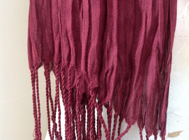 Silk Cotton Scrunch Style Scarf Maroon Color with Tassels by Look Tag Attached image 4