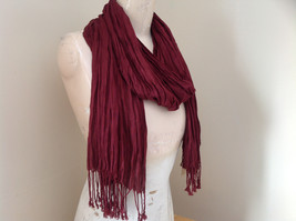 Silk Cotton Scrunch Style Scarf Maroon Color with Tassels by Look Tag Attached image 2