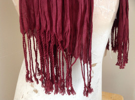 Silk Cotton Scrunch Style Scarf Maroon Color with Tassels by Look Tag Attached image 5