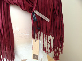 Silk Cotton Scrunch Style Scarf Maroon Color with Tassels by Look Tag Attached image 6