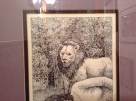 Signed Framed Pen Art by Wendy Lewis 1981 Man Sleeping Being Watched by Lion image 5