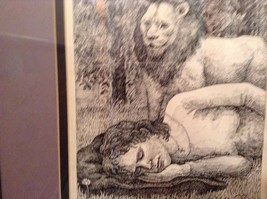 Signed Framed Pen Art by Wendy Lewis 1981 Man Sleeping Being Watched by Lion image 4
