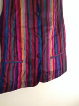 Sigrid Olsen Striped Red Orange Blue Black Short Sleeve Lined Vest Size M image 3