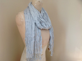 Silk Cotton Blend Heather Gray Scrunched Style Tasseled Scarf TAGS ATTACHED image 2
