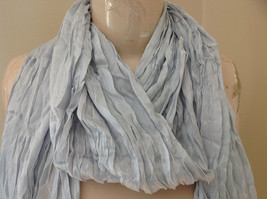 Silk Cotton Blend Heather Gray Scrunched Style Tasseled Scarf TAGS ATTACHED image 3