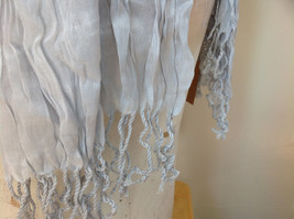 Silk Cotton Blend Heather Gray Scrunched Style Tasseled Scarf TAGS ATTACHED image 4