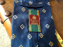 Silk Blue with White and Gold Diamond Shape Tie Made in Italy Equestrian Firenze image 4