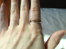 Silver Gold Rose Gold Plated Triple Crossover Bands Ring Size 7.75 and 6.5 image 3